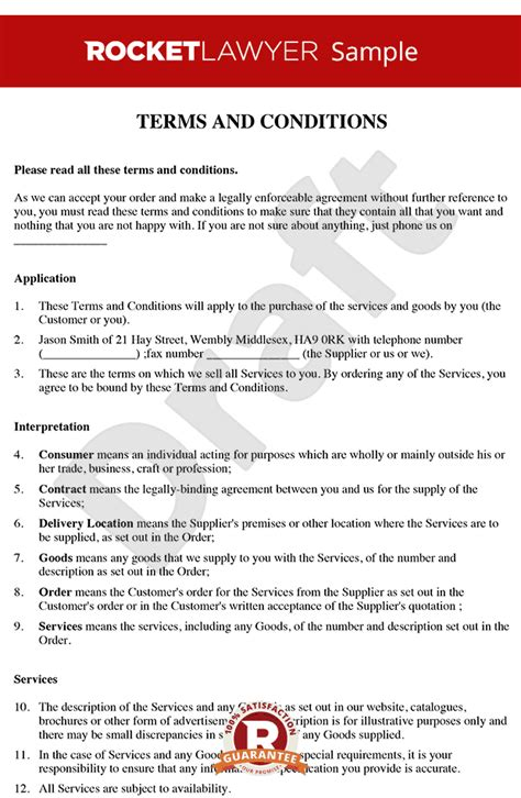 terms and conditions for services template supply of goods and services agreement template
