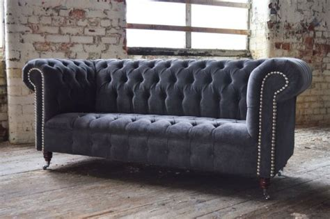 grey velvet chesterfield sofa straight arm chesterfield sofa slate grey velvet for sale
