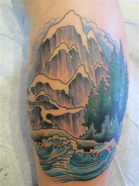 japanese mountain tattoo designs arm japanese wave mountain by pioneer