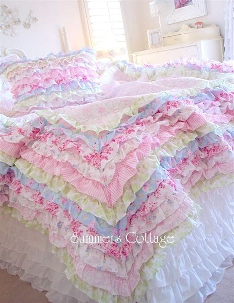 How To Make A Ruffle Quilt by Shabby Cottage Colors Chic Petticoat Ruffles Or