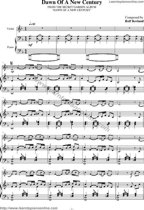 secret piano tutorial secret garden of a new century free piano sheet