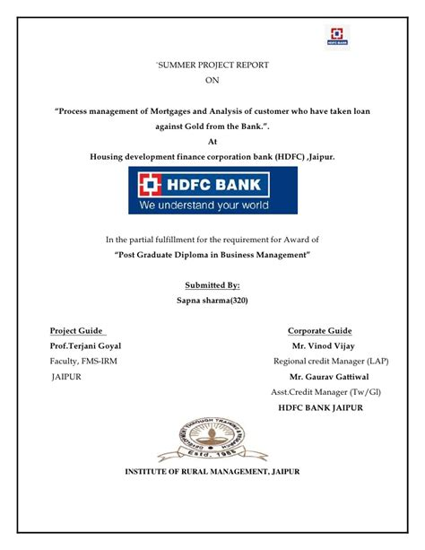 Project On E Banking Of Mba by Hdfc Report