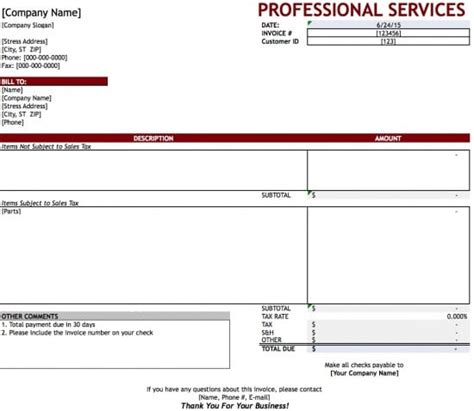 free professional services invoice template excel pdf