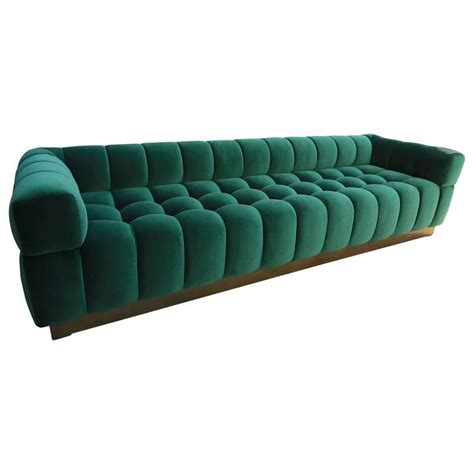 custom tufted green velvet sofa with brass base for sale
