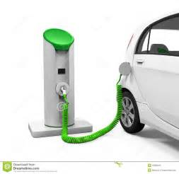 Electric Car Charge Stations Electric Car In Charging Station Stock Illustration