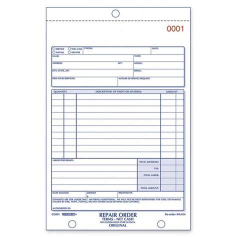 printable repair order forms rediform repair order form book quickship com