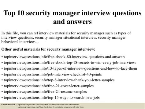 top 10 security manager questions and answers