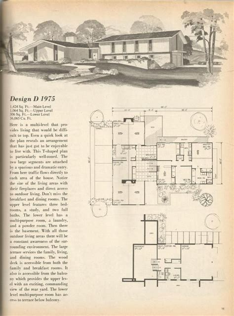 1970s house plans vintage house plans mid century homes 1970s homes