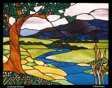 pattern landscape art creek river landscape stained glass pinterest