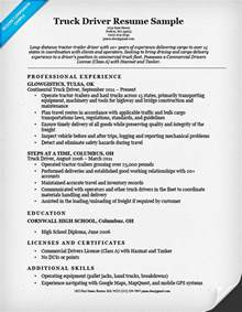 Resume Objective Exles Driver Truck Driver Resume Sle Resume Companion