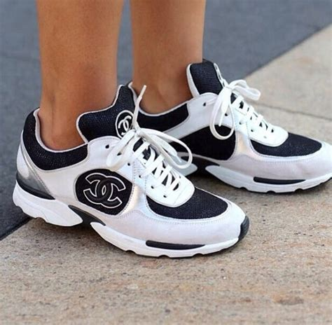 chanel 14p tennis shoes white black mesh silver leather