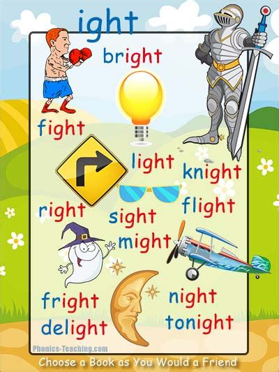 words and pictures book ight words free printable phonics poster words with