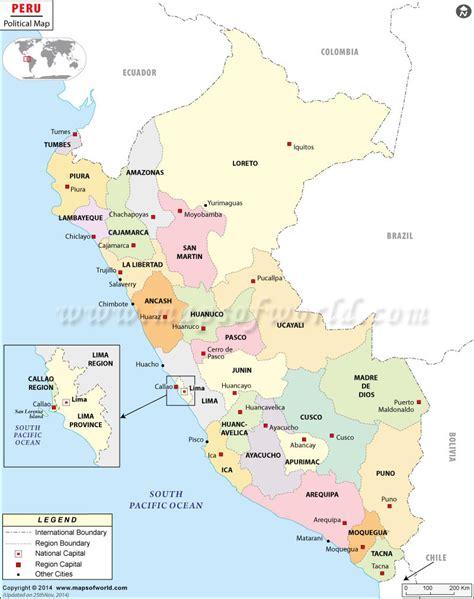 peru on a map political map of peru peru regions map