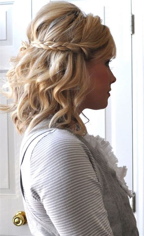 hair with poof on top beach waves and a braid for short hair probably with a