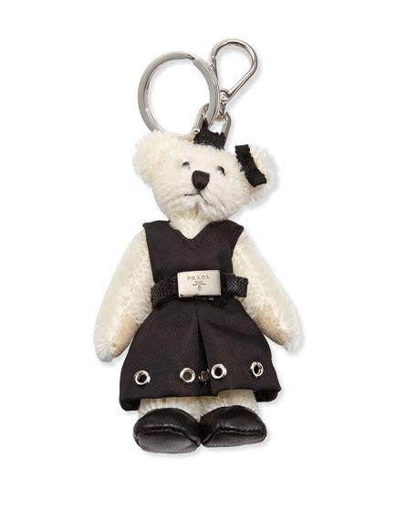 prada marlene teddy charm for handbag white black bianco nero neiman