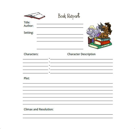 book report template free book report template 13 free word pdf documents