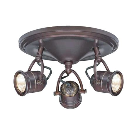 Three Light Ceiling Fixture Hton Bay 3 Light Antique Bronze Base Pinhole Ceiling Fixture Ec4886abz The Home Depot