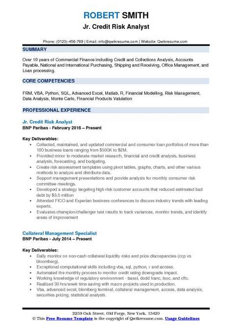 credit analyst resume credit risk analyst cover letter