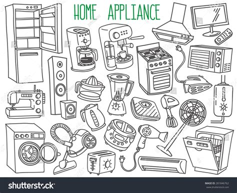 doodle home electronic appliances drawing www imgkid the image