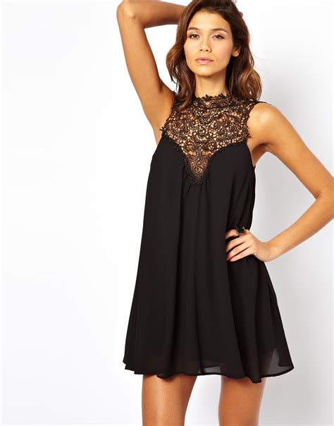 high neck swing dress tfnc london swing dress with lace high neck in black lyst