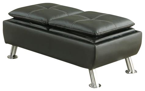 Modern Storage Ottoman Coaster Faux Leather Storage Ottoman In Black Modern Footstools And Ottomans By Cymax