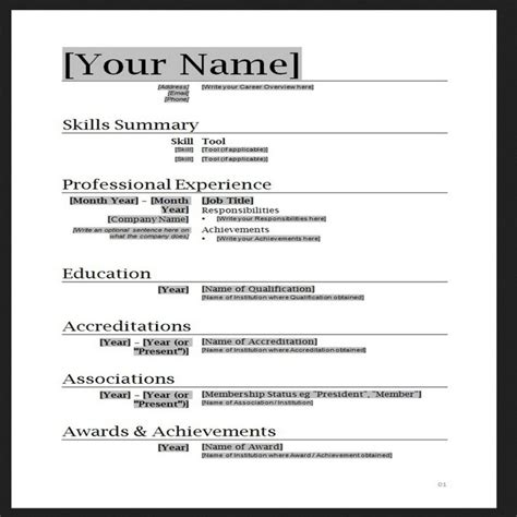 Resume Word Template by Free Resume Templates Word Cyberuse