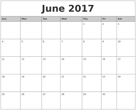 Calendar 2017 June Month June 2017 Monthly Calendar Printable
