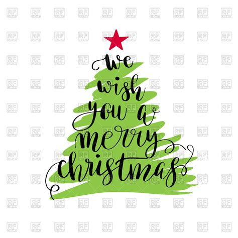 merry christmas christmas tree poster vector stock image  objects