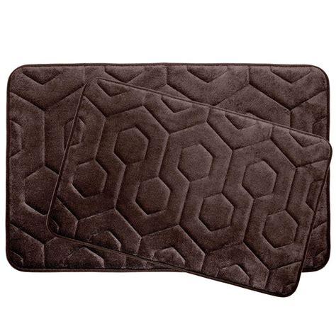 Memory Foam Bath Mat Set by Bouncecomfort Hexagon Espresso 20 In X 34 In Memory Foam