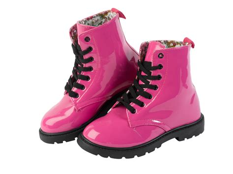 Boots Pink Black combat style patent boots bright pink black lace up