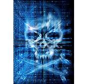 Hacker Attack With Skull Background Stock Photos