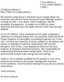 electrical engineering cover letter sle
