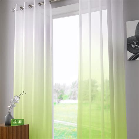 Two Tone Curtains Two Tone Ombre Ring Top Sheer Voile Curtain Panel 58x90 Inches 147x229 Cm Ebay