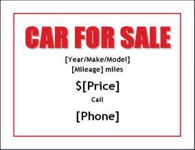 sample car for sale poster flyer template formal word