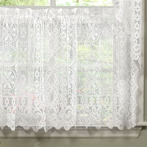 lace swag valance curtains hopewell heavy white lace kitchen curtain choice of tier