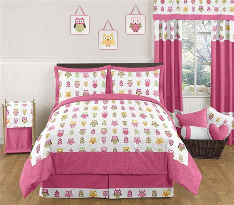 kids pink owl bedding full queen comforter set collection