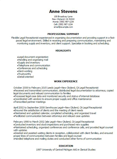 resume sle for receptionist 1 receptionist resume templates try them now