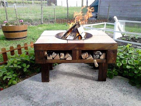 pit table diy diy pallet pit table with firewood storage 99 pallets