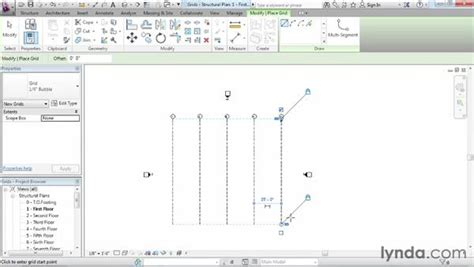 revit tutorial grid creating and modifying structural grids