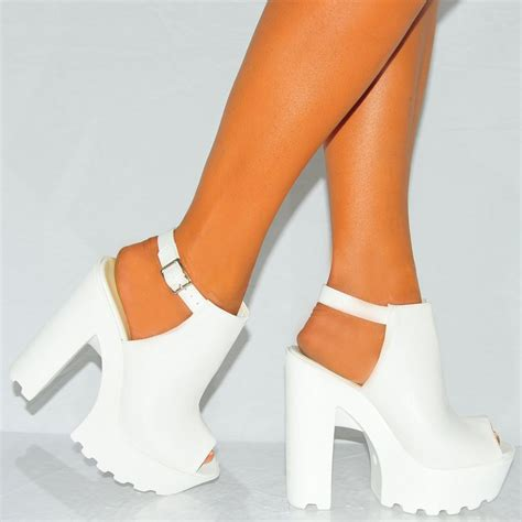 heels high white faux leather peep toe chunky block platform
