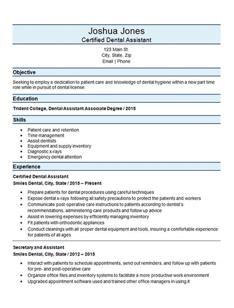 Resume For Dental Assistant by Certified Dental Assistant Resume Exle