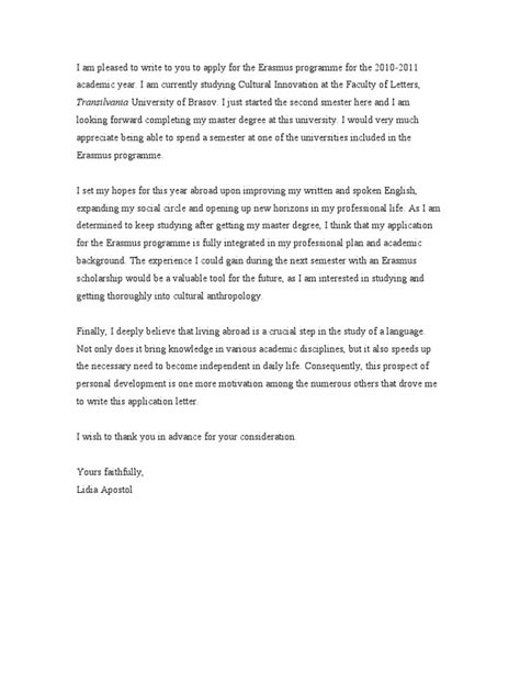 Motivation Letter Youth Exchange Cover Letter Erasmus