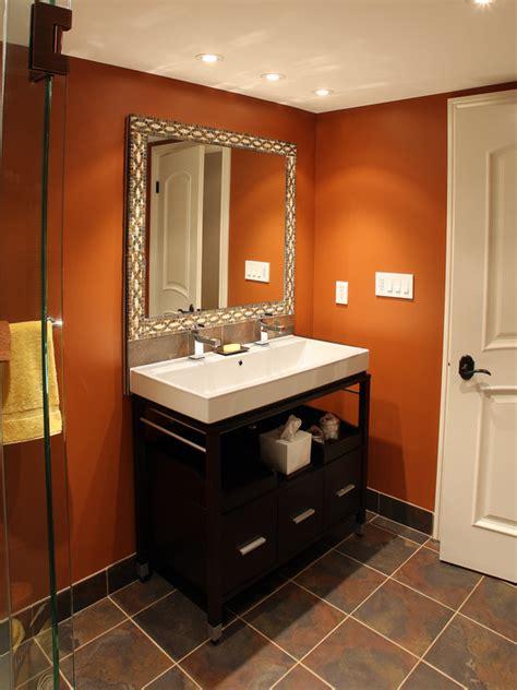 small bathroom dark paint half bath idea warm terracotta walls dark tile floor