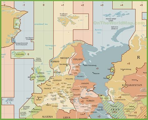 time sone map europe time zones map