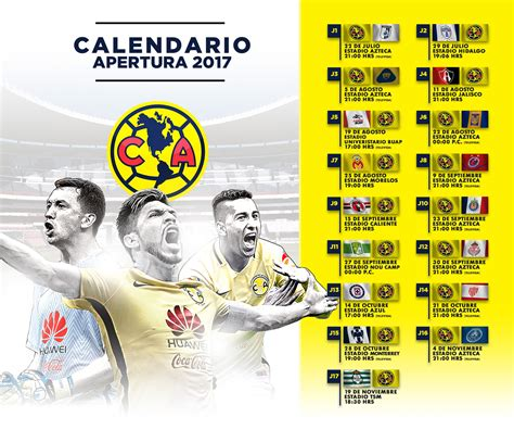 Calendario Liga Mx Club America Calendario Am 233 Rica Torneo Apertura 2017 Club Am 233 Rica