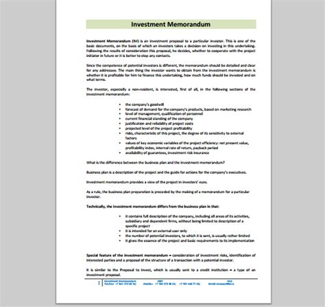 Investment Memo Template memo template for investment sle of investment memo