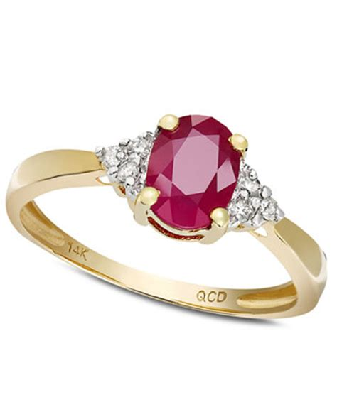 Ruby 5 1ct ruby 1 ct t w and accent ring in 14k gold