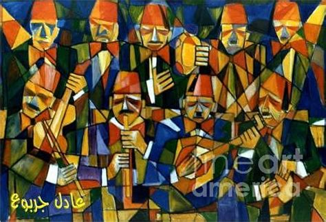 ancient arabic music band painting by adel jarbou