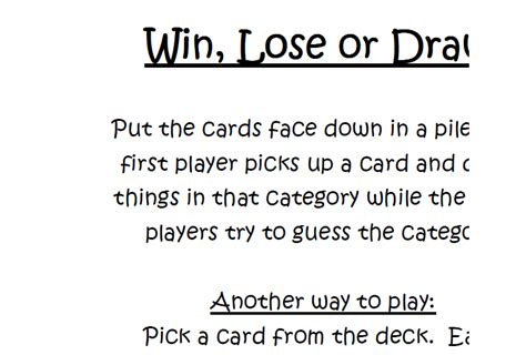 Printable Win Lose Or Draw Cards