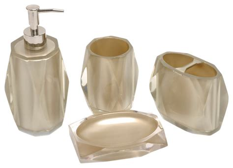 Fiore Taupe Bath Accessory 4 Piece Set Contemporary Contemporary Bathroom Accessories